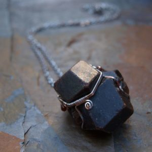 pendant with garnet, surgical steel