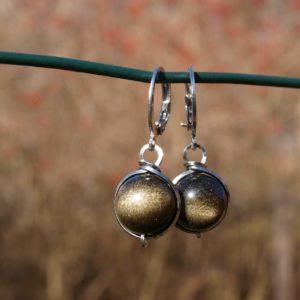 obsidián, náušnice z obsidiánu, Malka, malka,ocel, nerez ocel earrings